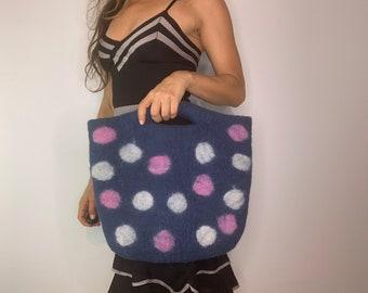 Lana Sara Molano felt wool bag handmade polka dot purse bag