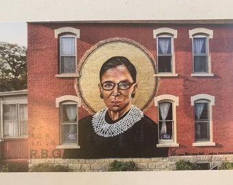 RBG Ruth Bader Ginsburg Pop Print Poster Of Mural Sign By Artist Street Art Iowa
