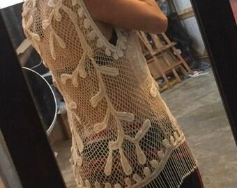 Sharmark Las Vegas 1997 bead crochet vest vintage