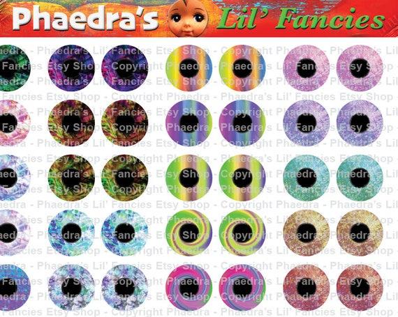 più colori vendita uk bello design ARTE texture 14mm cerchi occhi di bambola Blythe - 150 coppie su due fogli  A4 - Download Instant stampabile Scrapbook Collage gioielli artigianali ...