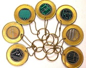 RECYCLED CIRCUIT BOARD KEY CHAIN with BRASS  Repurposed GEEKERY for your home car or office