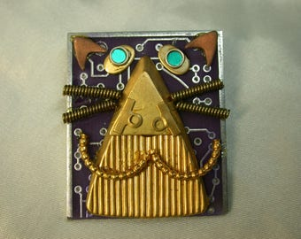 RECYCLED Circuit Board CAT PIN Geekery Jewelry CB233