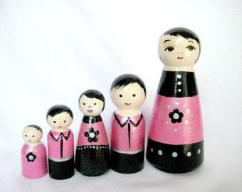Fuchsia Asian Family... Family of 5 Tiny Dolls