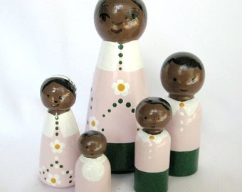 Pink Dark Skinned Family... Family of 5 Tiny Dolls African American