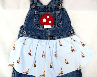 Gnomes and Mushrooms Apron Overalls (kids 3T)