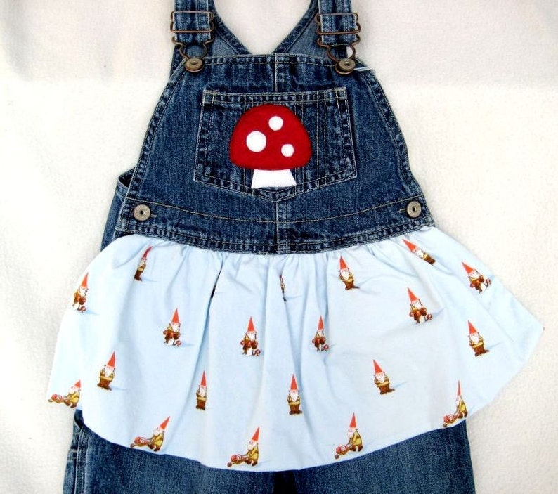 Gnomes and Mushrooms Apron Overalls kids 3T image 0
