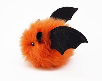 Stuffed Bat Stuffed Animal Cute Plush Toy Bat Luna the Orange Bat Fluffy Fuzzy Furry Snuggly Cuddly Faux Fur Halloween Toy Small 4x5 Inches