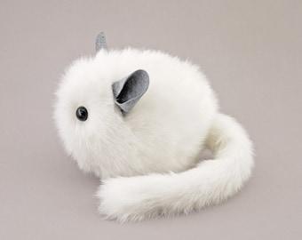 Chinchilla Stuffed Animal Cute Plush Toy Chinchilla Kawaii Plushie (Bianca) the White Cuddly Faux Fur Chinchilla Toy - 6x6x10 Large