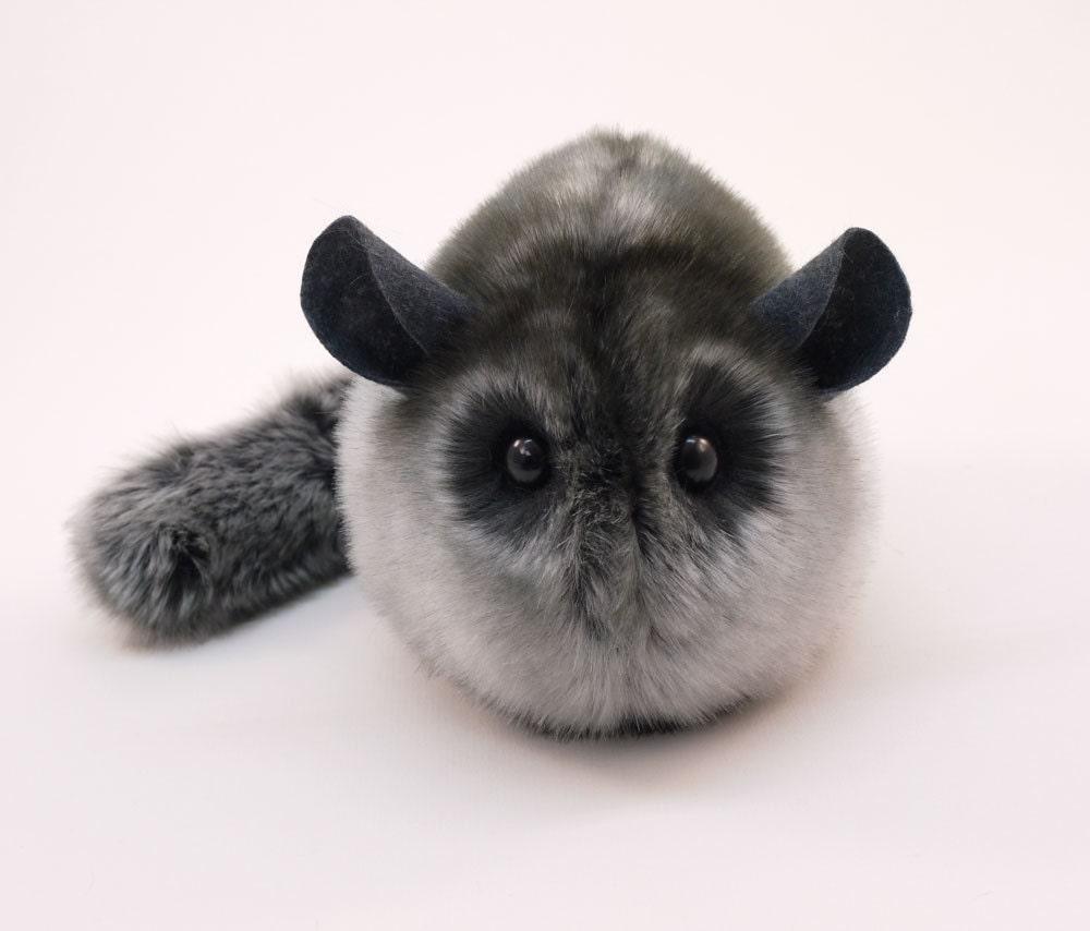 Stuffed Chinchilla Stuffed Animal Cute Plush Toy Chinchilla Kawaii Plushie Smokey the Dark Grey Snuggly Faux Fur Toy Medium 5x8 Inches