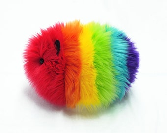 Rainbow Guinea Pig Stuffed Animal Cute Plush Toy Snuggly Cuddly Faux Fur Plushie Large 6x10 Inches
