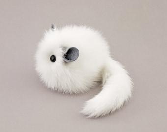 Stuffed White Chinchilla Stuffed Animal Cute Plush Toy Faux Fur Chinchilla Kawaii Plushie Bianca the Chinchilla Small Toy  4x5 Inches