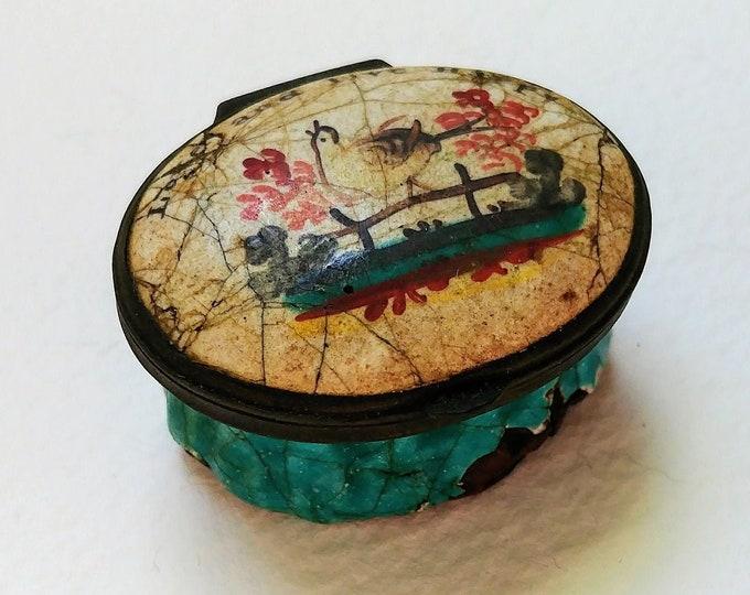 Bilston & Battersea Patch Snuff Box Pill Box circa 1780