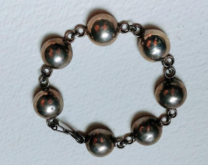 Vintage Taxco Silver Half Dome Bracelet