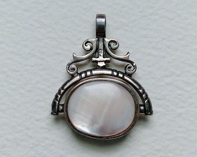 Silver Victorian Spinning Moonstone and Onyx Fob - Pendant - Charm