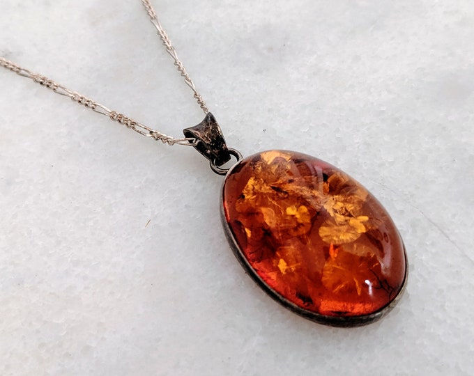 Vintage Large Amber Pendant with Sterling Silver Chain