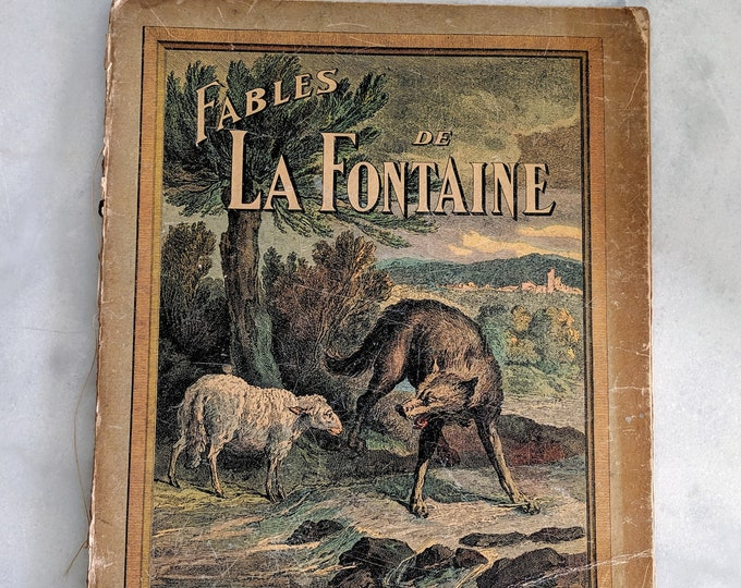 Antique Fairy Tale Book Fables de La Fontaine