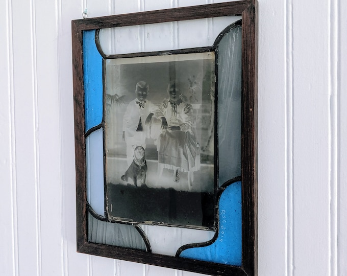 Glass Photo Negative and Stained Glass Portrait - brother and sister with their pet pug
