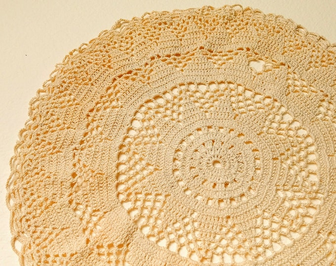 Circular Hand Crocheted Linen Lace Doily