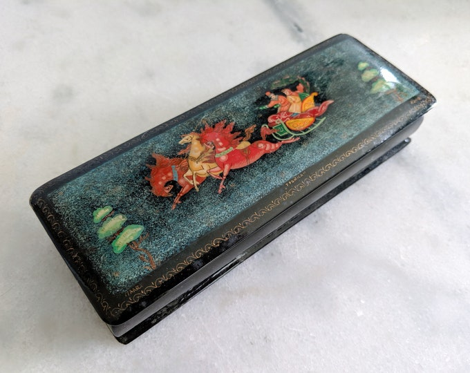 Vintage Russian Lacquer Box Troika in Winter from Palekh