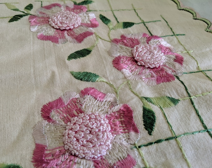Hand Embroidered Society Silk Pink Rose Linen Small Table Runner Doily