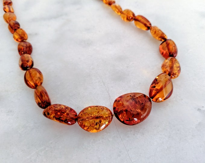 Vintage Beaded Natural Amber Necklace