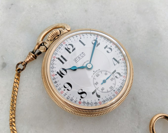 Vintage Open Face Pocket Watch with Original Chain