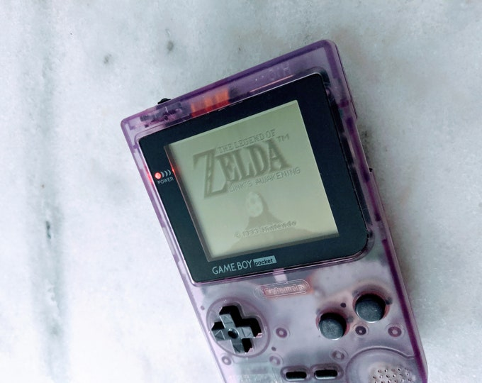 Nintendo Gameboy Pocket Clear Purple - With Zelda, Pokemon Red and Tetris