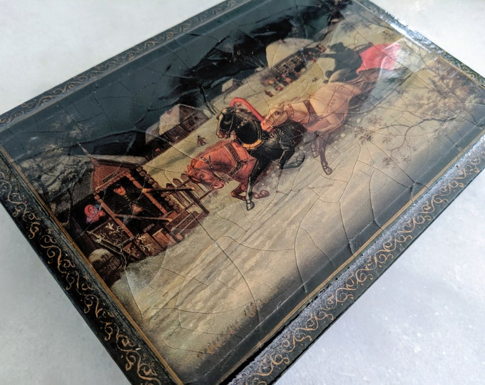 Vintage Russian Lacquer Box Troika in Winter with Bear