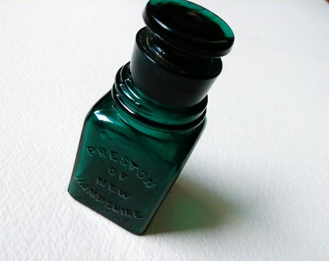 Antique Emerald Glass Bottle - Preston's Of New Hampshire