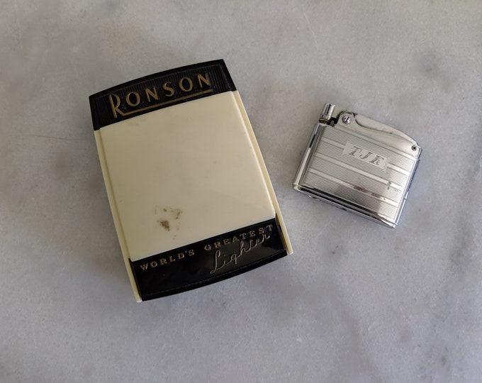 Ronson Adonis Lighter 1940s in Original Vintage Celluloid Case and Instructions