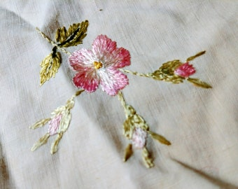 Hand Embroidered Society Silk Pink Rose Linen Doily