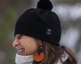 Everyday Beanie   Pom Pom Hat   Ski Hat   Black Merino Wool