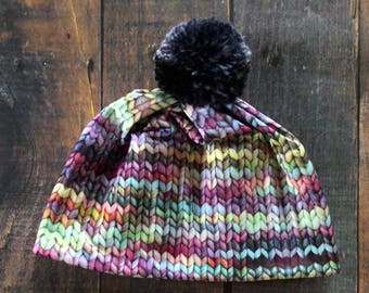 Everyday Beanie | Pom Pom Hat | Ski Hat | Faux Hand-Knit Yarn Print