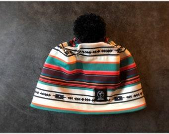 Everyday Beanie   Pom Pom Hat   Ski Hat    western stripe