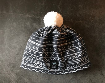Everyday Beanie   Pom Pom Hat   Ski Hat   Black and White Chalk Board doodle
