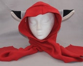 Wolf in Red Riding Hood Hoodie Scarf Winter Cute Fleece Beanie Hat Cosplay Anime Skiing Snowboarding Gothic Rave Punk Winter Cute Aviator