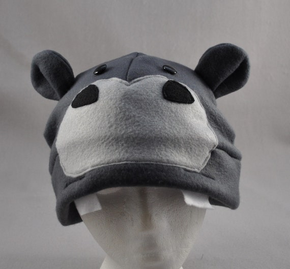 Grey Hippo Ears Cute Fleece Beanie Hat Cosplay Anime Skiing  cdab115d922