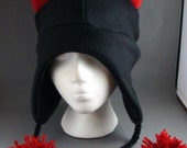 Black Cat with Red Yarn PomPoms Winter Cute Kitty Cat Fleece Beanie Hat Cosplay Anime Skiing Snowboarding Gothic Rave Punk Winter Cute Aviator