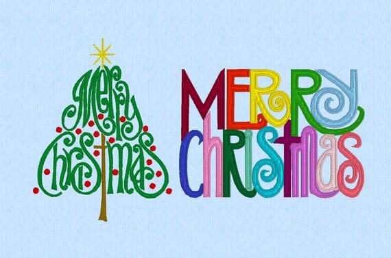 Merry Christmas Tree und Worte Maschine Stickerei Design Sets | Etsy