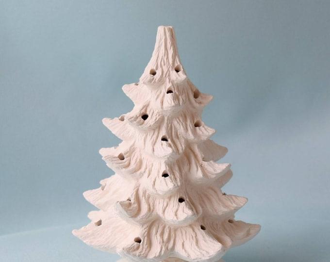 Vintage Style Lighted Christmas Tree 11 inch -  Bisque Christmas tree - DIY Christmas tree - Ready to paint Christmas tree