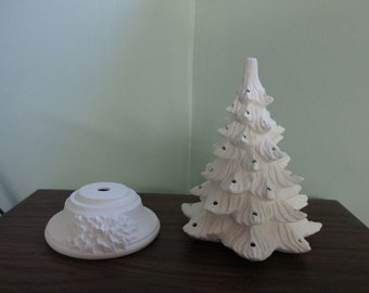 Vintage Style Lighted Christmas Tree - XL size 19 inch -  Bisque - Ready to paint - DIY Christmas tree - kit
