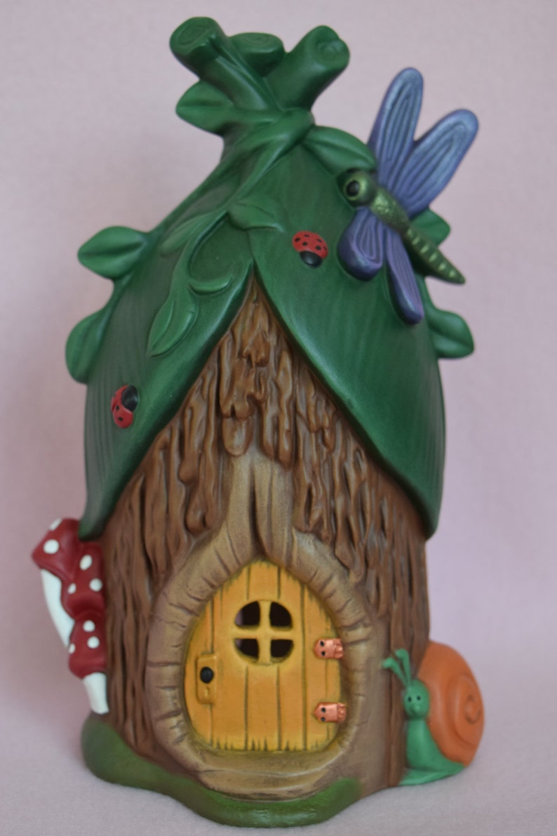 Painting project Dragonfly House DIY Ceramics Bisque ceramic fairy house