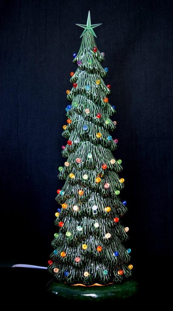 Slim Christmas Tree.Ceramic Christmas Tree Slim Christmas Tree 16 Inches Tall Village Tree Holiday Centerpiece Gift Idea Lighted Christmas Tree
