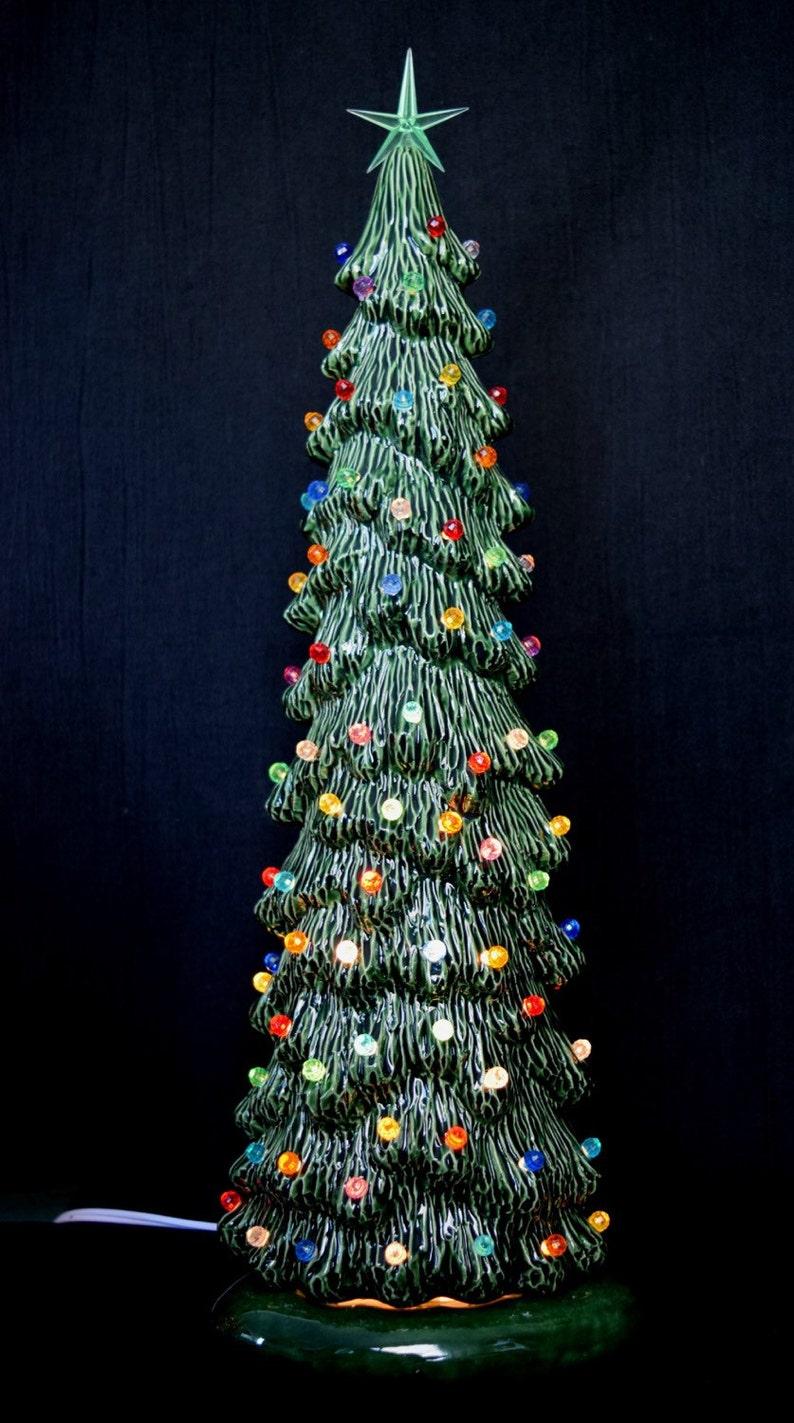 Ceramic Christmas Tree Slim Christmas Tree 16 Inches Tall Village Tree Holiday Centerpiece Gift Idea Lighted Christmas Tree
