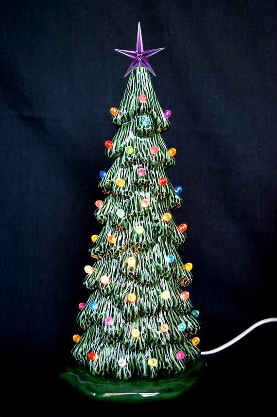 Tall Slim Christmas Tree.Ceramic Christmas Tree 10 5 Inches Tall Slim Tree Xmas Centerpiece Christmas Decor Ceramic Village Tree Ready To Ship