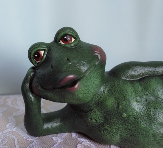 Ceramic Frog Figurine Garden Decor, Ceramic Frog Garden Decor