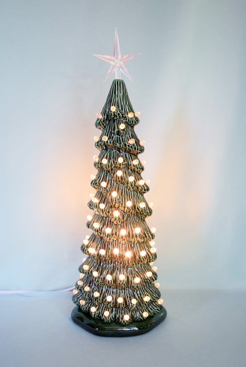 Vintage Style Lighted Christmas Tree Tall Slim Christmas Tree Christmas Centerpiece Lighted Christmas Tree 16 Inches Tall