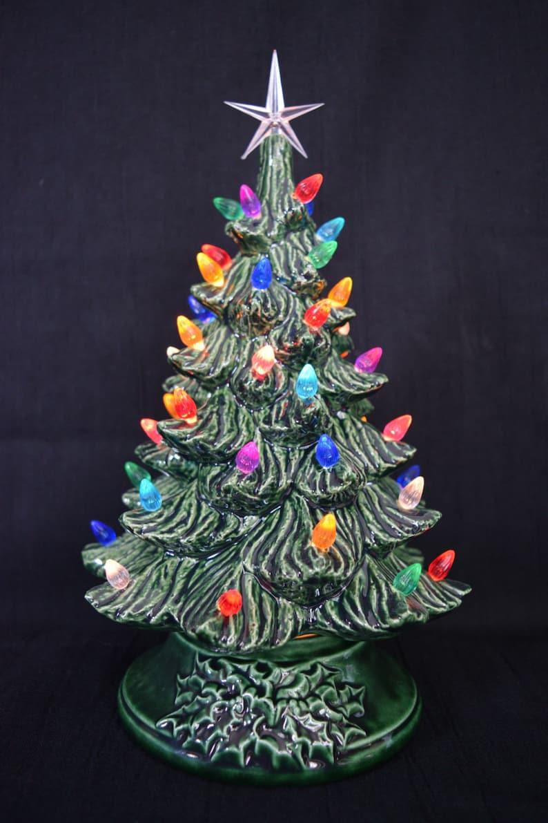 Ceramic Christmas Tree Christmas Tree Nightlight Christmas Nightlght Vintage Holiday Decoration 11 Inches Tall Nostalgic Tree