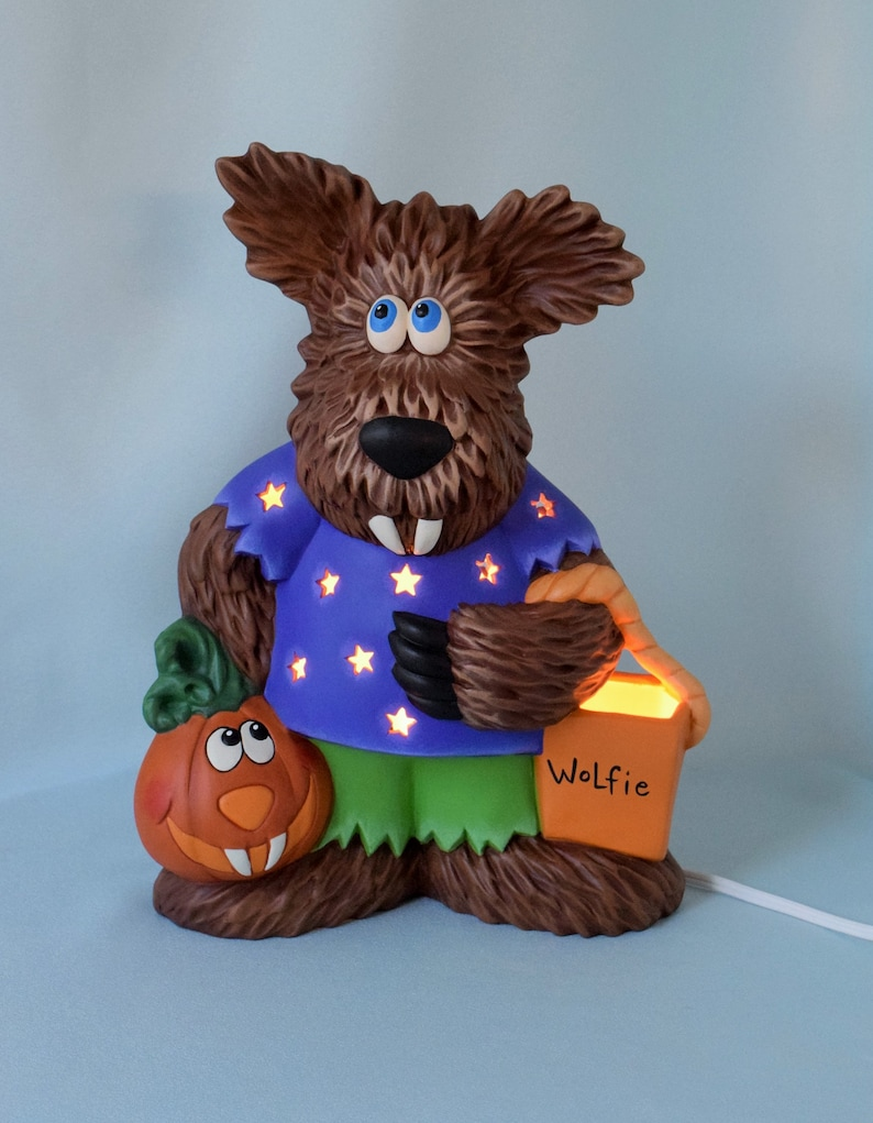 Ceramic Wolfman Lighted Halloween Decor Wolfie Werewolf Trick Or Treater Lighted Halloween Centerpiece Halloween Decor