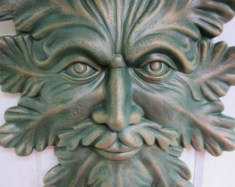 Greenman - Outdoor Wall Hanging - LeafMan - Yard Art - Garden Decor - Natureman - Leafman Plaque - Wall Hanging - Gift for Dad - Fathers Day